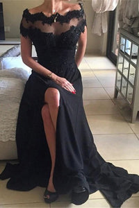 High Quality Off the Shoulder Short Sleeves Split Long Black Prom Dress with Lace Beading LPD47 | Cathyprom