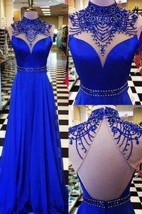 A-line High Neck Open Back Sweep Train Royal Blue Prom Dress with Beading P76 | Cathyprom