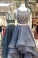Two Piece A-line Scoop Sleeveless High Low Grey Prom Dress with Beading P97 | Cathyprom