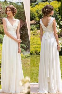 Simple V-neck Floor-length Chiffon Sleeveless Bridal Gown Wedding Dresses OHD135 | Cathyprom