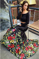 Two Piece Mermaid Off-the-Shoulder Long Sleeves Black Printed Prom Dress LPD22