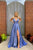 Simple A Line V Neck Sweep Train Sleeveless Sequins Side Slit Long Blue Satin Prom Dress OHC336 | Cathyprom