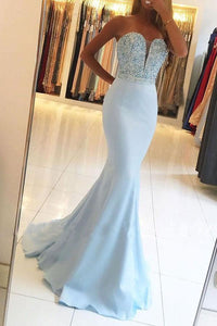 Sexy Mermaid/Trumpet Sweetheart Sleeveless Beaded Long Satin Prom Dresses OHC261 | Cathyprom
