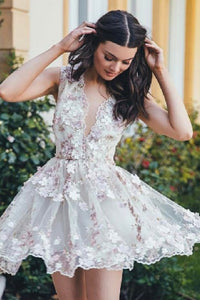 A-Line V-Neck Tulle Short Homecoming Dress with Appliques OHM040 | Cathyprom