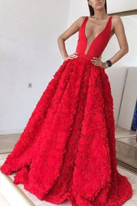 A-line Red Deep V-neck Sleeveless Sweep Train Appliques Prom Dress P62