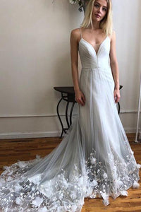 Gorgeous A Line Spaghetti Straps White Wedding Dresses with Appliques OHD107 | Cathyprom