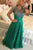 Green Lace Short Sleeves Beading Sweep Train Jewel A-line Prom Dress P69