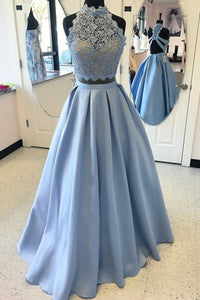 Two Piece High Neck Blue Satin Floor-length Criss-cross Straps Appliques Prom Dress P45