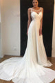 Beautiful A Line Round Neck Sweep Train Sleeveless White Chiffon Wedding Dresses OHD103 | Cathyprom