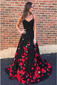A-Line Spaghetti Straps Sweep Train Black Prom Dress with Flowers LPD20
