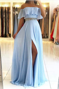 A Line Short Sleeves Blue Chiffon Strapless Long Beaded Waistline Prom Dress Blue Evening Dress OHC375 | Cathyprom