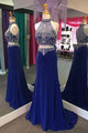 Two Piece Sheath High Neck Illusion Back Long Royal Blue Prom Dress with Beading P81 | Cathyprom