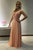 A-line Crew Neck Illusion Back Sweep Train Peach Prom Dress with Lace Beading LPD36 | Cathyprom