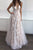 A-Line Deep V-Neck Champagne Tulle Backless Prom Dress with Lace P54