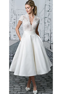 Simple V-neck Tea-length Vintage Short Bridal Gown Wedding Dresses with Lace Ruffles OHD142 | Cathyprom