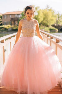 Dramatic Round Neck Sleeveless Floor-Length Pink Prom Dress with Beading LPD59 | Cathyprom