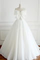 Beautiful Ball Gown Strapless Floor Length Sleeveless Long Organza Bowknot Bridal Gown Wedding Dresses OHD164 | Cathyprom