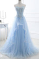 Chic A-line Sweetheart Floor-length Sweep Train Sleeveless Lace Long Tulle Prom Dress/Evening Dress OHC199 | Cathyprom