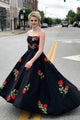 Simple A-line Sweetheart Sweep Train Sleeveless Embroidery Long Satin Prom Dress OHC211 | Cathyprom