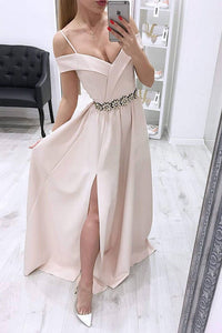 Simple A Line Pink Satin Off Shoulder Beaded Waistline Long Side Slit Prom Dress OHC370 | Cathyprom