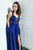 A Line Royal Blue Satin Long Lace Open Back Criss-Cross Straps V Neck Prom Dress OHC374 | Cathyprom