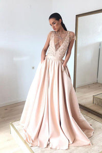 Chic Prom Dresses A Line Sweep Train Short Sleeves Pockets Embroidery Beading Long Satin Prom Dresses OHC318 | Cathyprom