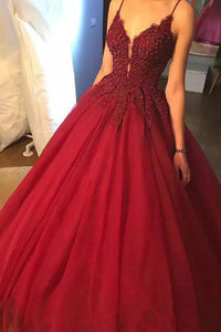 Ball Gown Spaghetti Straps Floor Length Sleeveless Beading Long Burgundy Tulle Prom Dress OHC222 | Cathyprom