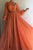 A-line High Neck Hand-Made Flowers Long Sleeves Long Chiffon Prom Dresses Long Evening Dress OHC243 | Cathyprom