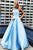 Elegant A Line Blue Satin High Neck Strapless Long Pearl Prom Dress Evening Dress OHC383 | Cathyprom