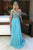 A-line Deep V-neck Sleeveless Sweep Train Backless Blue Prom Dress with Beading LPD34 | Cathyprom