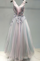 Beautiful A-line V-neck Sweep Train Sleeveless Appliques Beading Long Colorful Chic Tulle Prom Dresses  OHC252 | Cathyprom