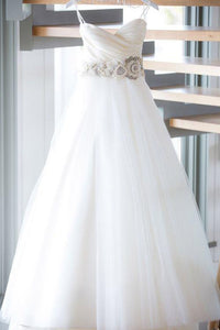 Cheap Ball Gown Sweetheart Sweep Train Sleeveless Romantic Tulle Wedding Dresses Sequins OHD160 | Cathyprom