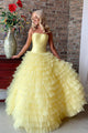 Beautiful A Line Strapless Floor Length Sleeveless Long Tulle Ruffles Cheap Prom Dress OHC234 | Cathyprom
