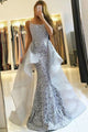 Mermaid Spaghetti Straps Detachable Floor-Length Lace Prom Dress C15