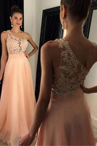 One Shoulder Sleeveless Sweep Train Peach A-line Prom Dress with Beading Lace LPD38 | Cathyprom
