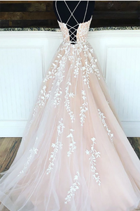 Long Spaghetti Strap Floor Length Sleeveless Criss-cross Tulle Lace Cute Pink Prom Dress 2020 LPD8