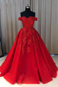 Ball Cown Off-the-shoulder Sweep Train Short Sleeves Appliques Long Red Tulle Prom Dress OHC129 | Cathyprom