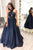 A Line Navy Blue Satin Sleeveless Sequins V Neck Strapless Long Prom Dress Evening Dress OHC368 | Cathyprom