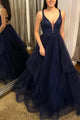 A Line V Neck Open Back Sleeveless Beaded Long Navy Blue Tulle Prom Dress OHC342 | Cathyprom