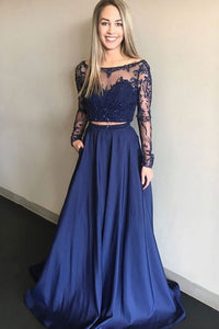 Sparkly Navy Blue Lace Long Sleeve A Line Formal Prom Dress Two Pieces Evening Dress OHC369 | Cathyprom