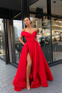 Chic A-line Off-the-Shoulder Floor Length Sleeveless Slit Prom Dresses Evening Dresses OHC274 | Cathyprom