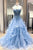 Chic Prom Dresses Sweetheart Sky Blue Ruffles Sleeveless Applique Lace Tulle Prom Dress Sexy Evening Dress OHC313 | Cathyprom