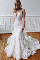 Gorgeous Mermaid V Neck White Sleeveless Tulle Wedding Dresses with Appliques OHD108 | Cathyprom