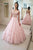Cute Two Pieces V Neck Cap Sleeves Pink Lace Applique Long Tulle Prom Dress Party Dress OHC358 | Cathyprom