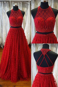 Two Piece Jewel Sweep Train Open Back Red Prom Dress with Beading Appliques P89 | Cathyprom