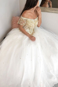 Gorgeous Ball Gown Off-the-shoulder Sleeveless Lace Beaded Long Tulle Prom Dress OHC235 | Cathyprom