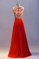 Glamorous A-line Crew Neck Floor Length Orange Prom Dress with Beading Crystals Pleats LPD44 | Cathyprom