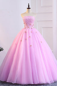 Pink Tulle Sweetheart Neck Long A Line Bead 3D Lace Applique Prom Dress P1