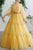 A Line Off The Shoulder Long Sleeves Lace Applique Beading Long Yellow Tulle Prom/Formal Dress OHC334 | Cathyprom