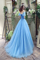 Off Shoulder Tulle Princess Beaded Charming Applique Backless Long Prom Dress LPD15